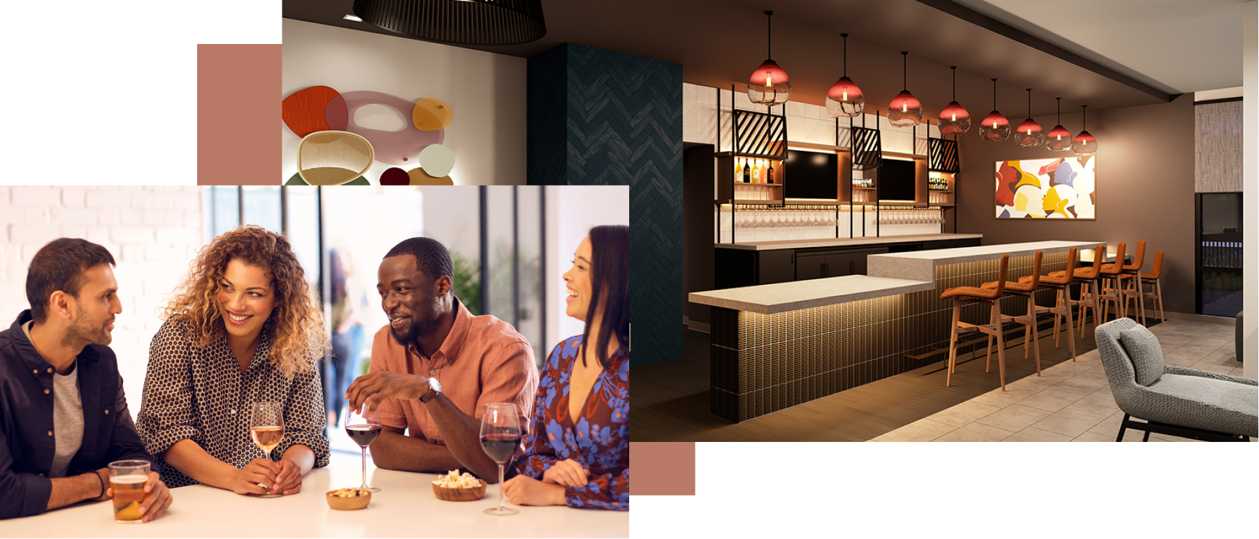 A mosaic of images showing the hotel dining counter as well as a group of travellers enjoying a drink together.