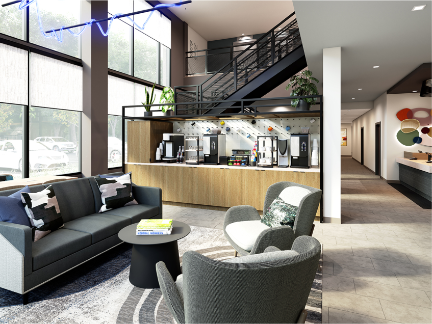Downstairs lobby seating area near a beverage station with self-serve coffee, tea and more.