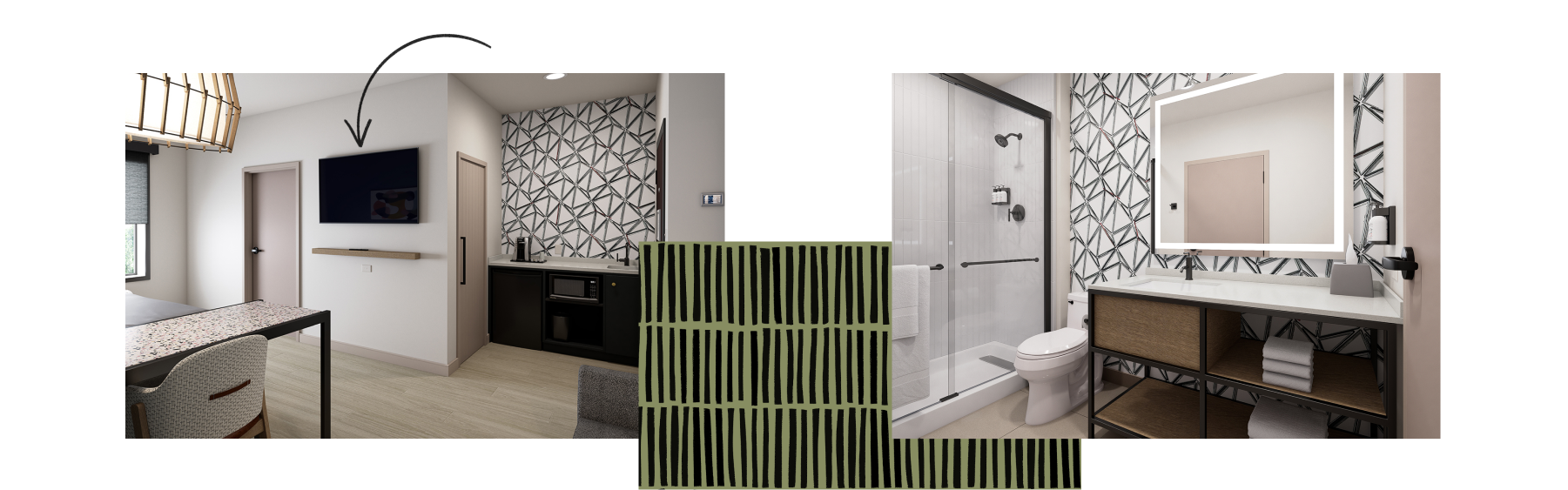 A mosaic of room images shows Atwell Suites™ convenient wet bar, standing desk, and a clean, bright bathroom.