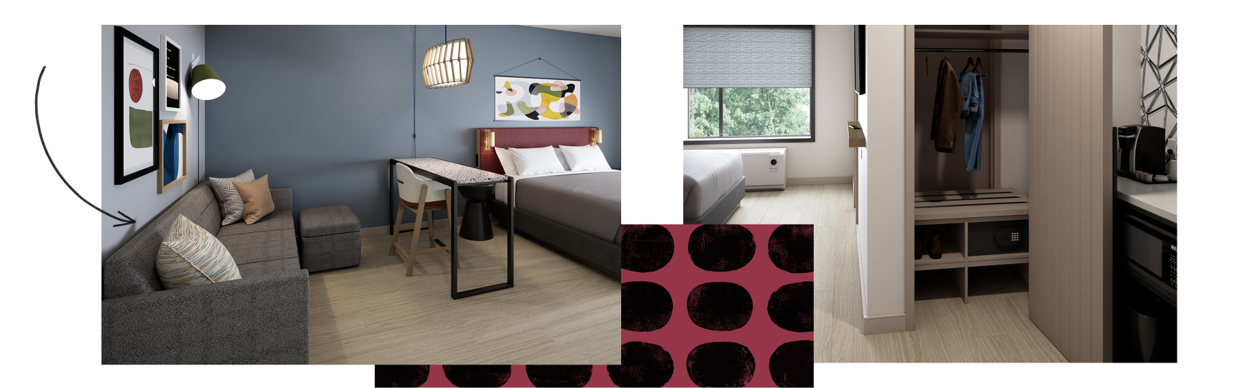 A mosaic of room images shows Atwell Suites™ cosy lounge area and full-size wardrobe.