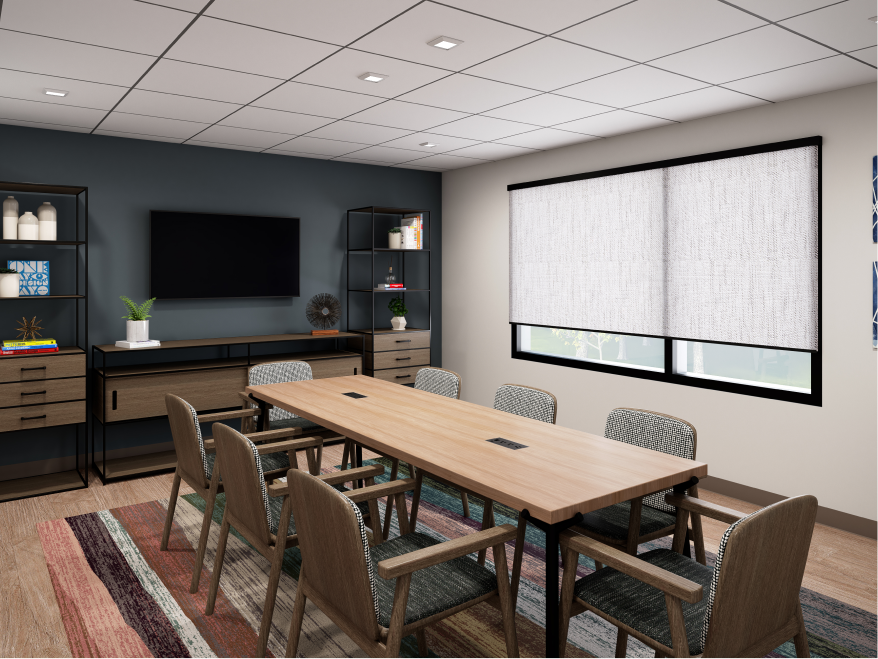 The Study, an 8-to-10 person meeting room with a conference table, chairs and flat sceen monitor.