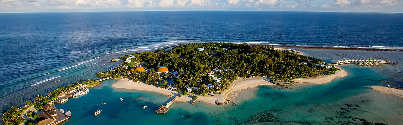 An aerial shot of the island of Kandooma.