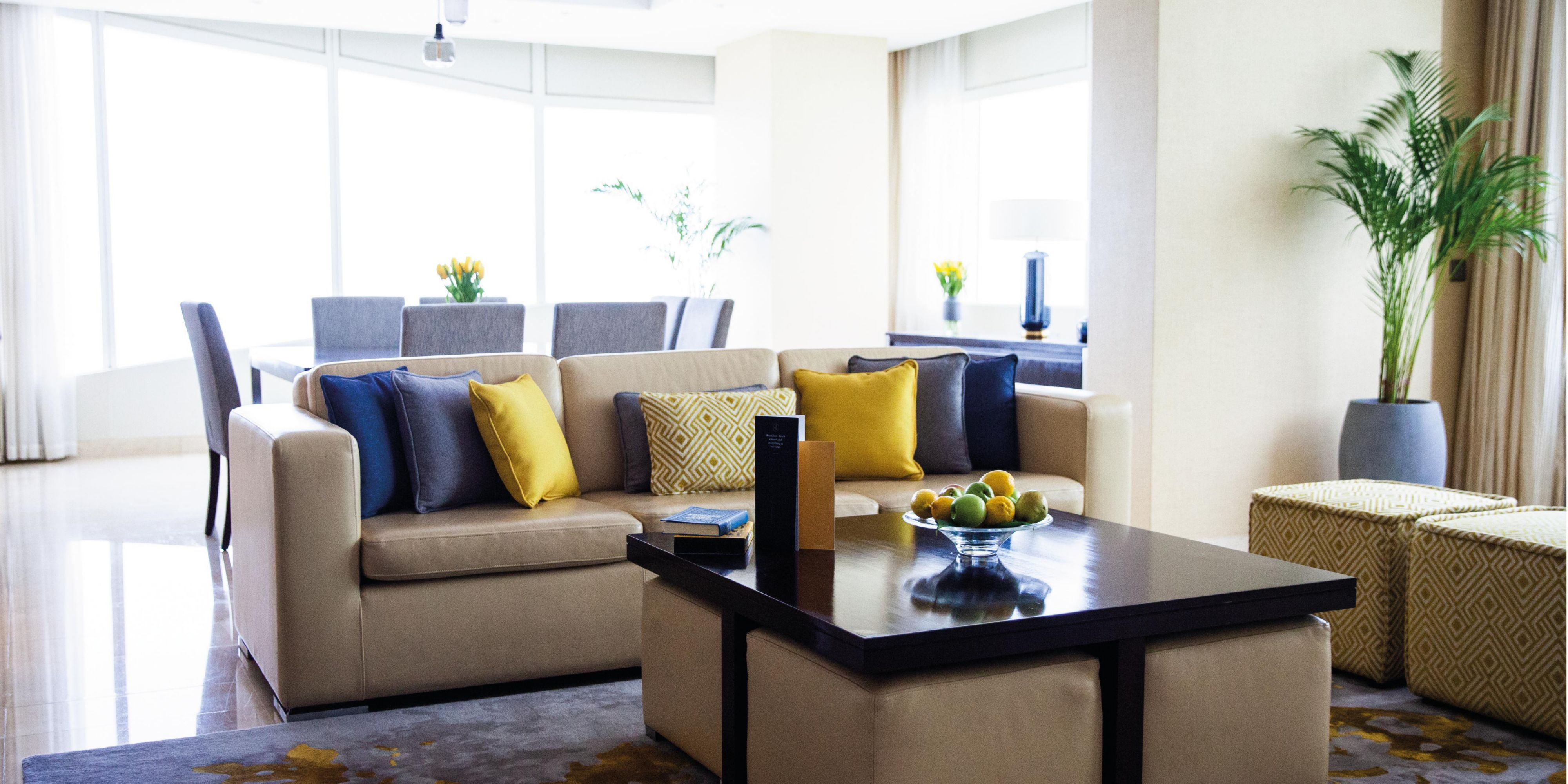 Ambassador Suite, living room, views of Jumeirah Beach