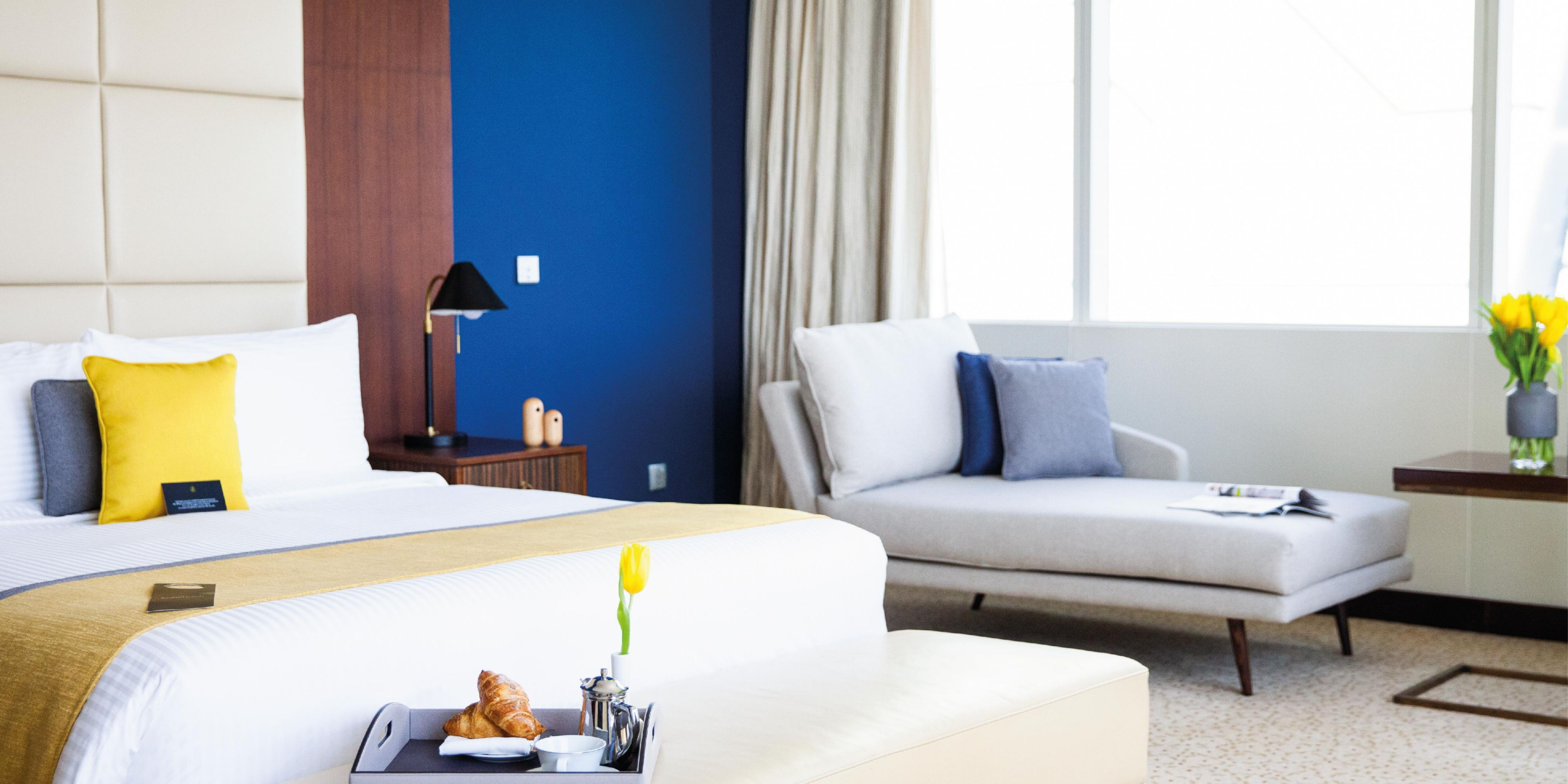 Royal Suite master bedroom, with views of Sheikh Zayed Road, Dubai