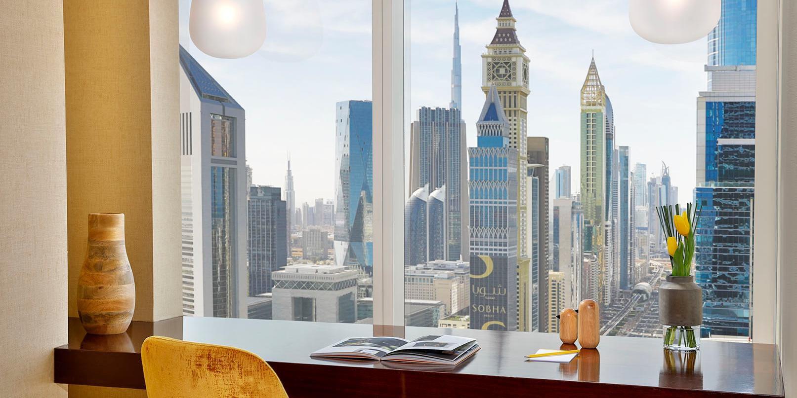 Ambassador Suite bathroom, with views of Sheikh Zayed Road, Dubai