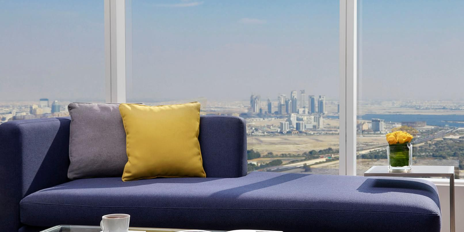 Ambassador Suite lounge, with views of Shiekh Road or Jumeirah