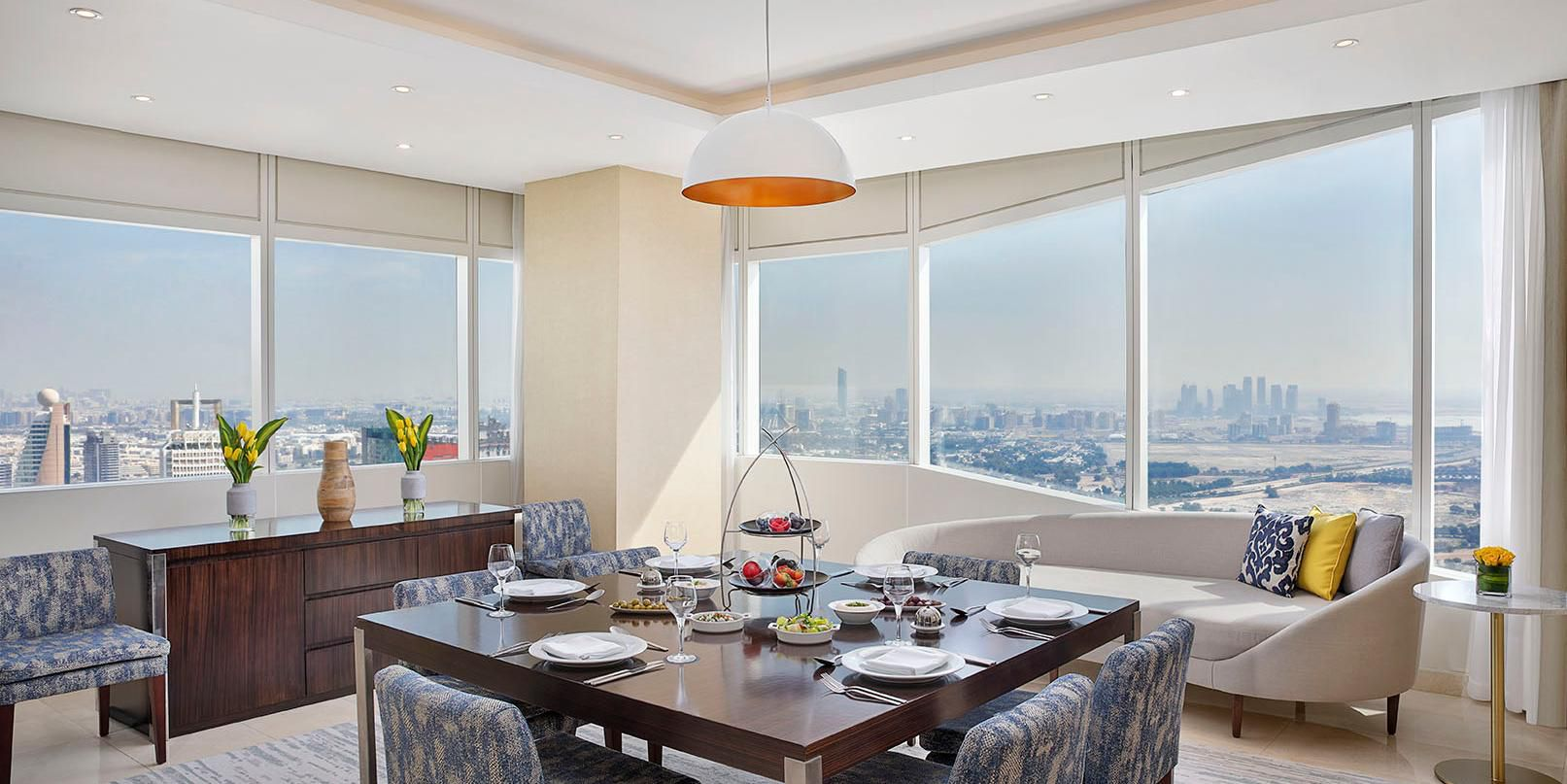 Ambassador Suite dining area, with views of Shiekh Zayed Road
