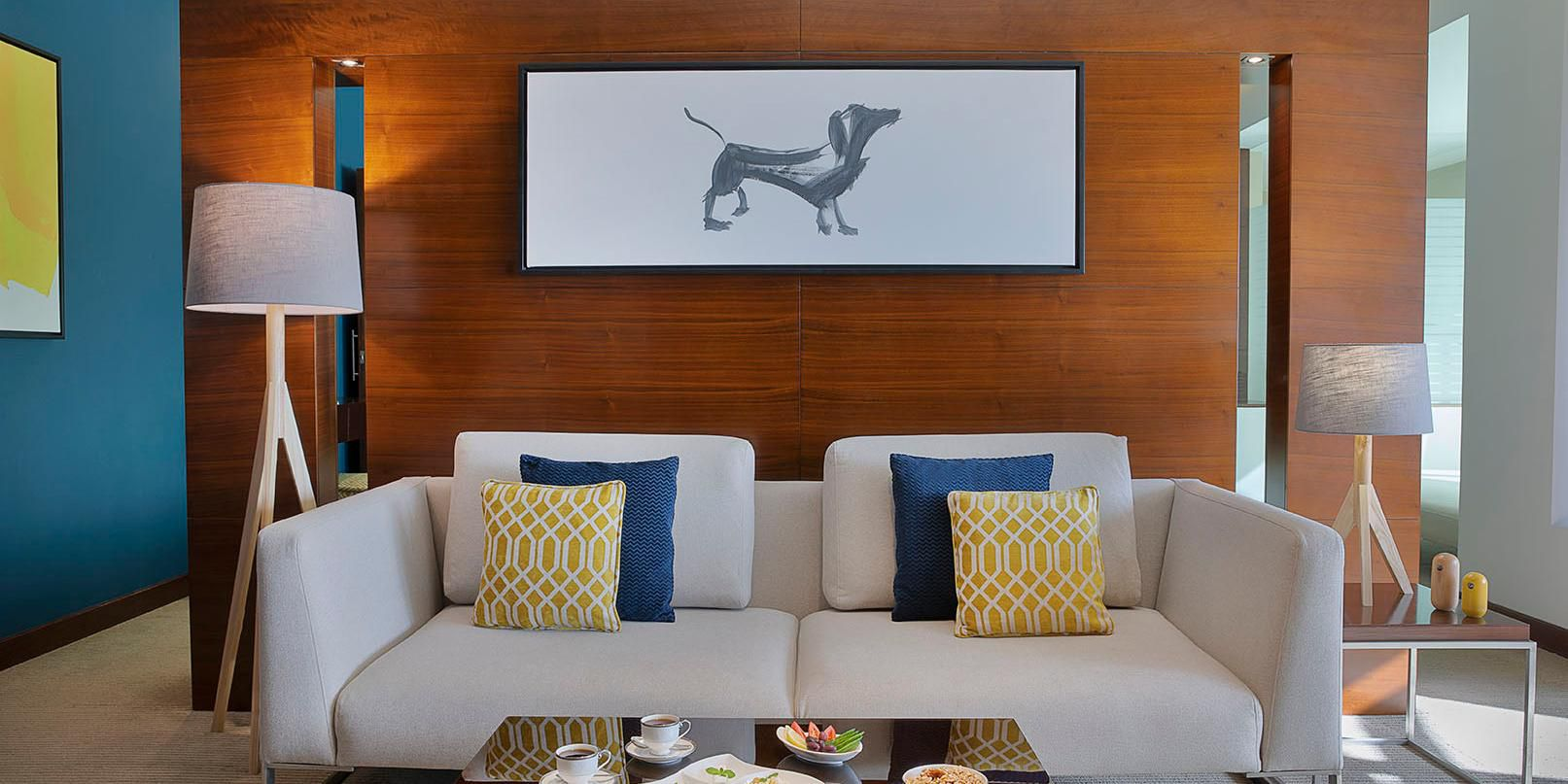 Premiere Suite living room, with views of Sheikh Zayed Road, Dubai