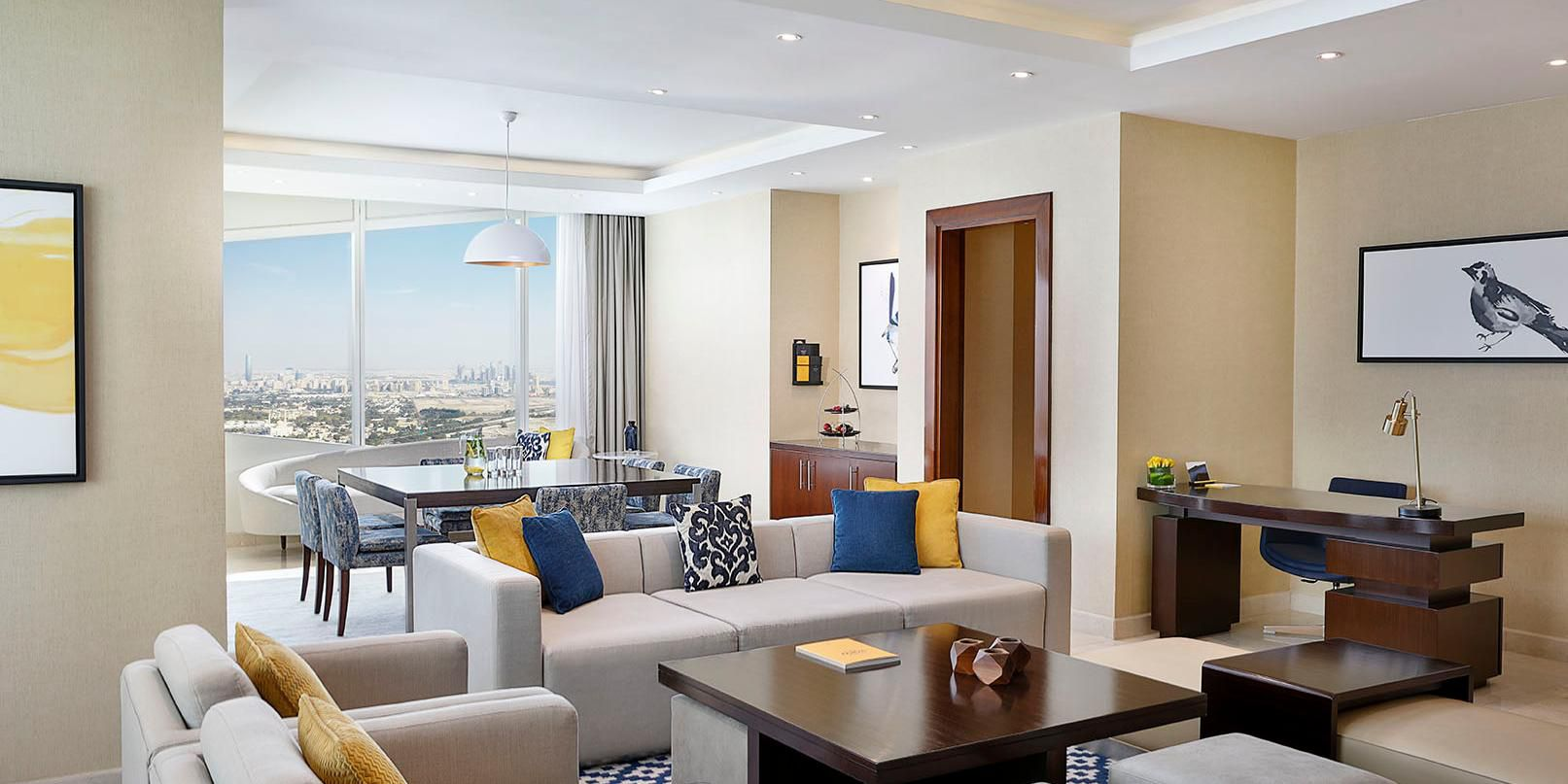 Ambassador Suite living room, with views of Sheikh Zayed Road