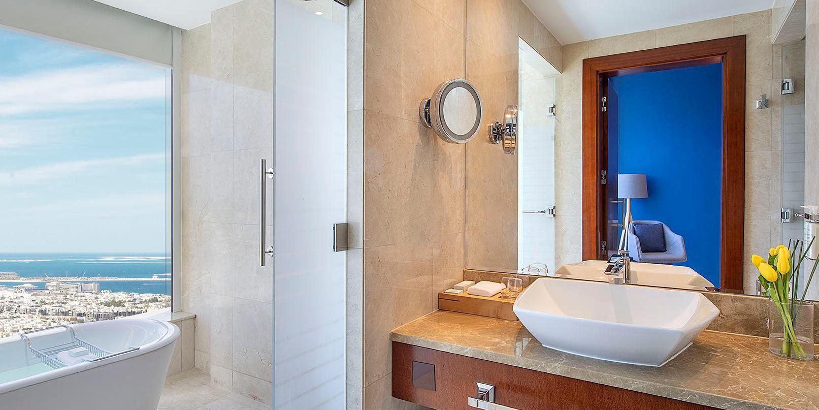 Superior Room bathroom, with views of Jumeirah Beach