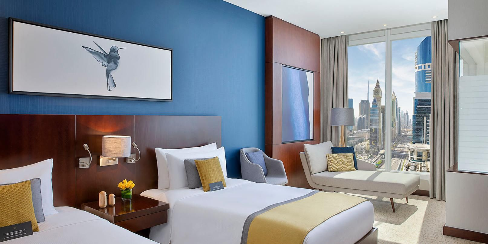 Superior Room, twin beds, city views of Sheikh Zayed Road, Dubai