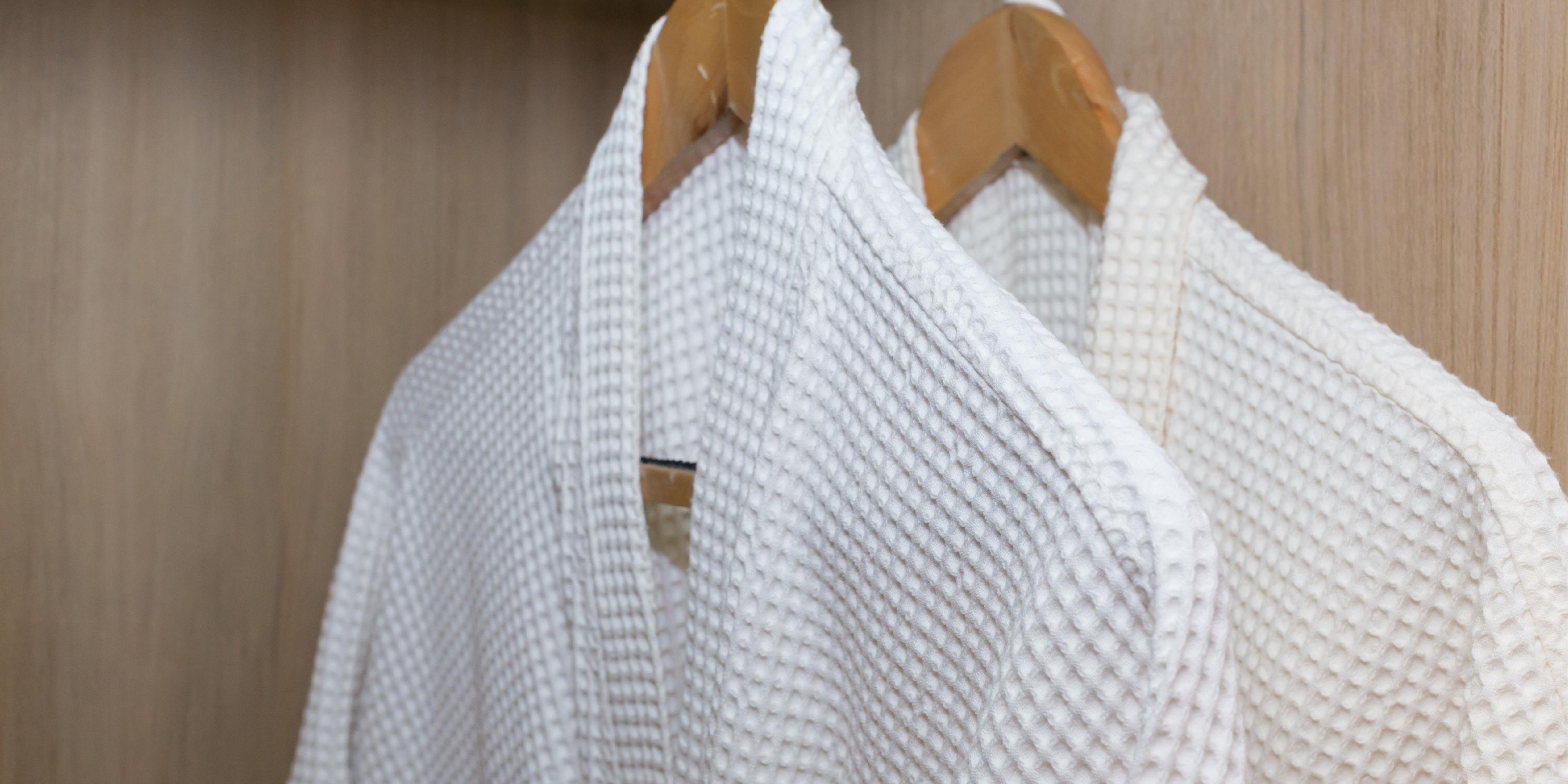 Crisp white bathrobes in all rooms