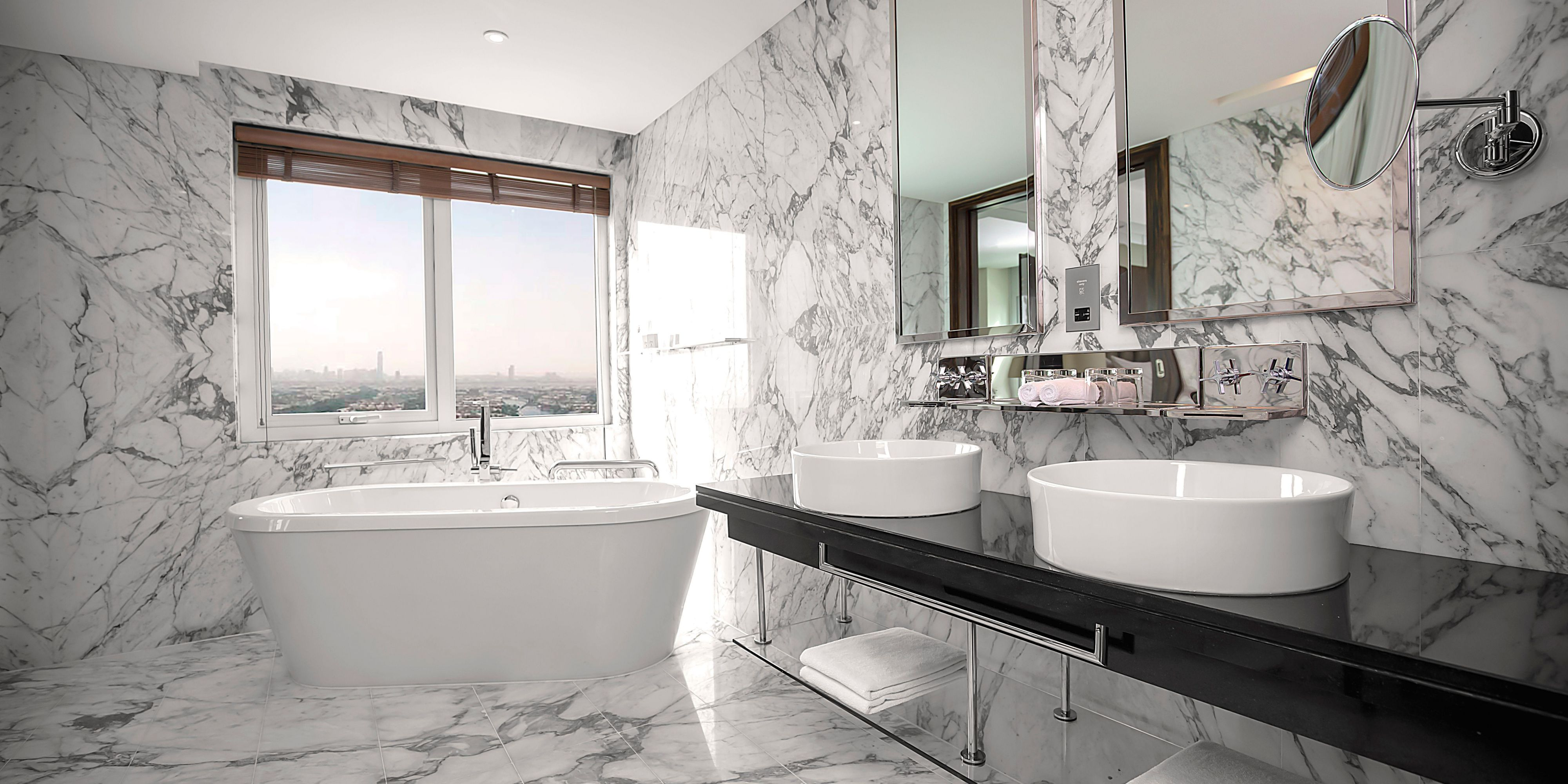 Feel the zen with our stand-alone bathtub and spacious bathroom