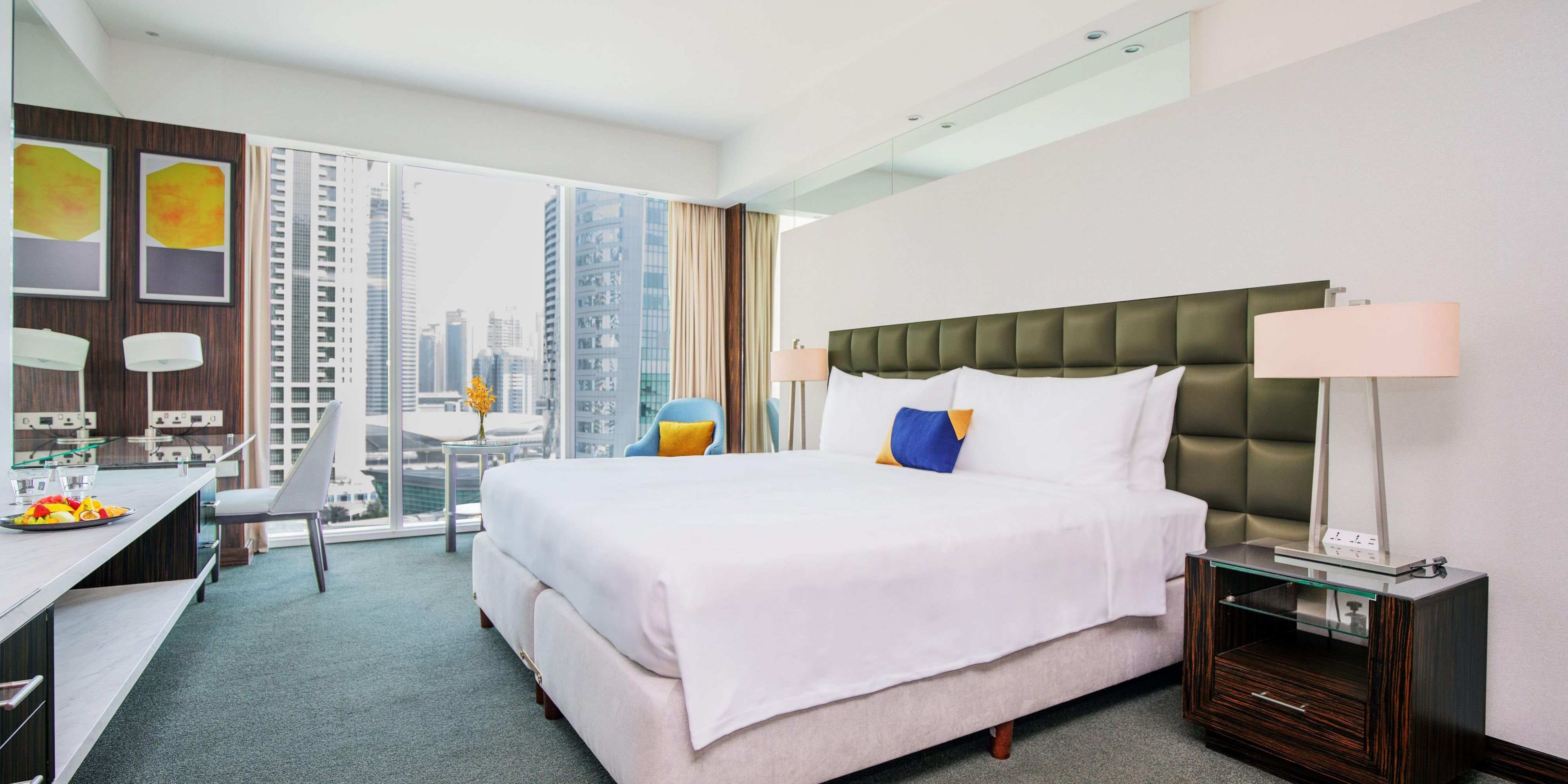Our welcoming king size bed in the Deluxe room