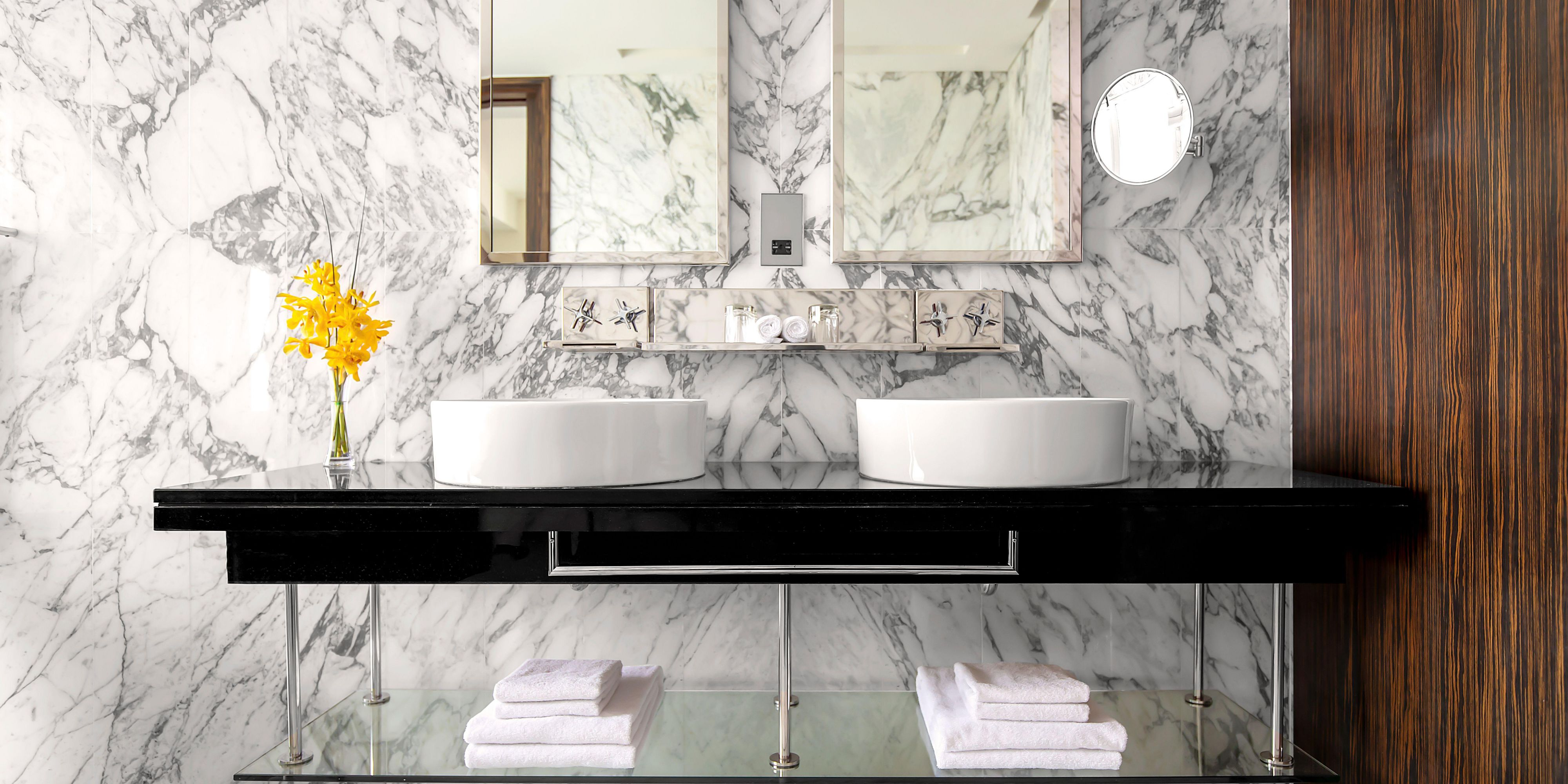 Double-vanity sinks in Deluxe suite, perfect for families
