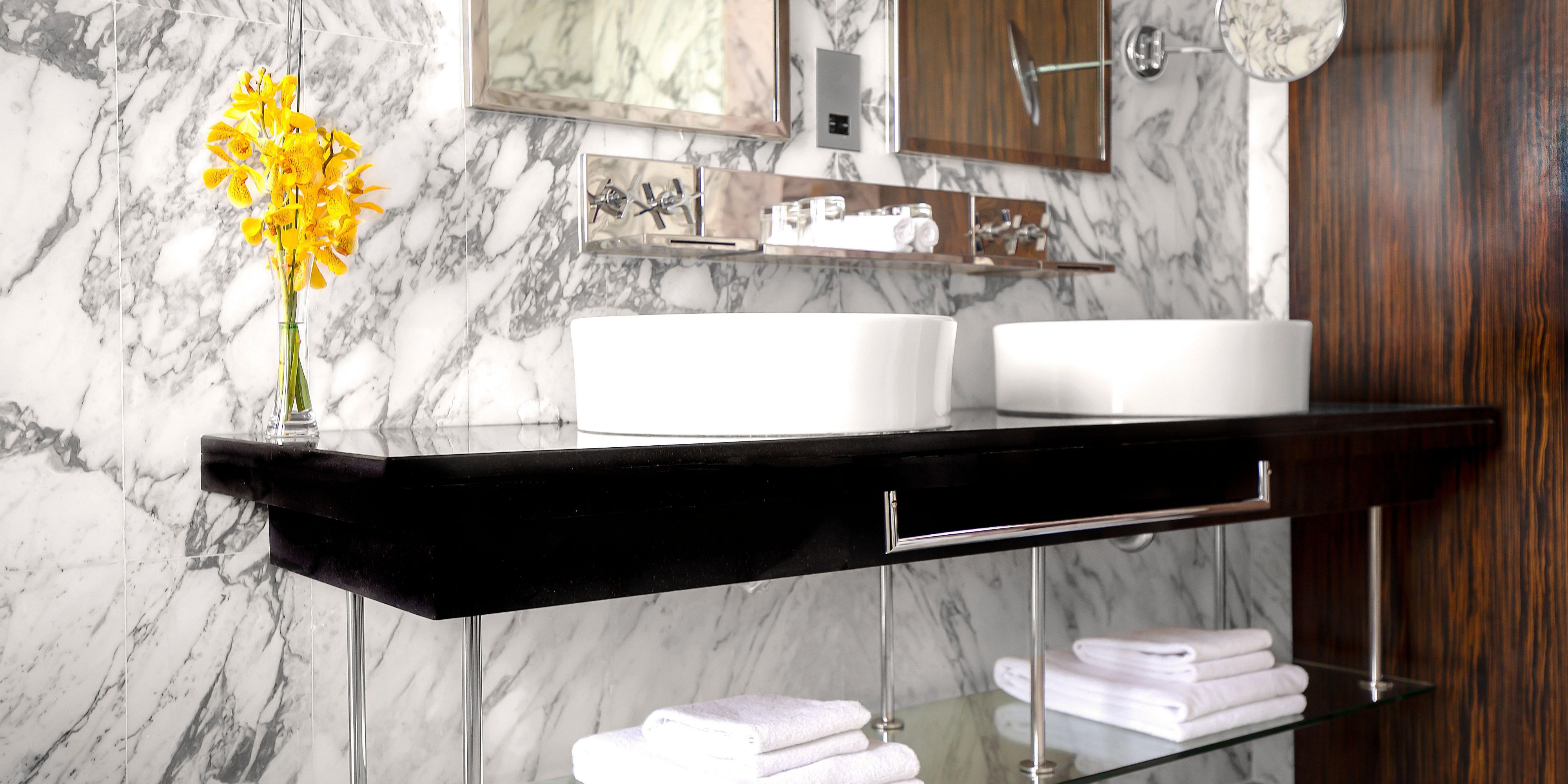 Double sinks in our bathroom of Deluxe suite, perfect for families