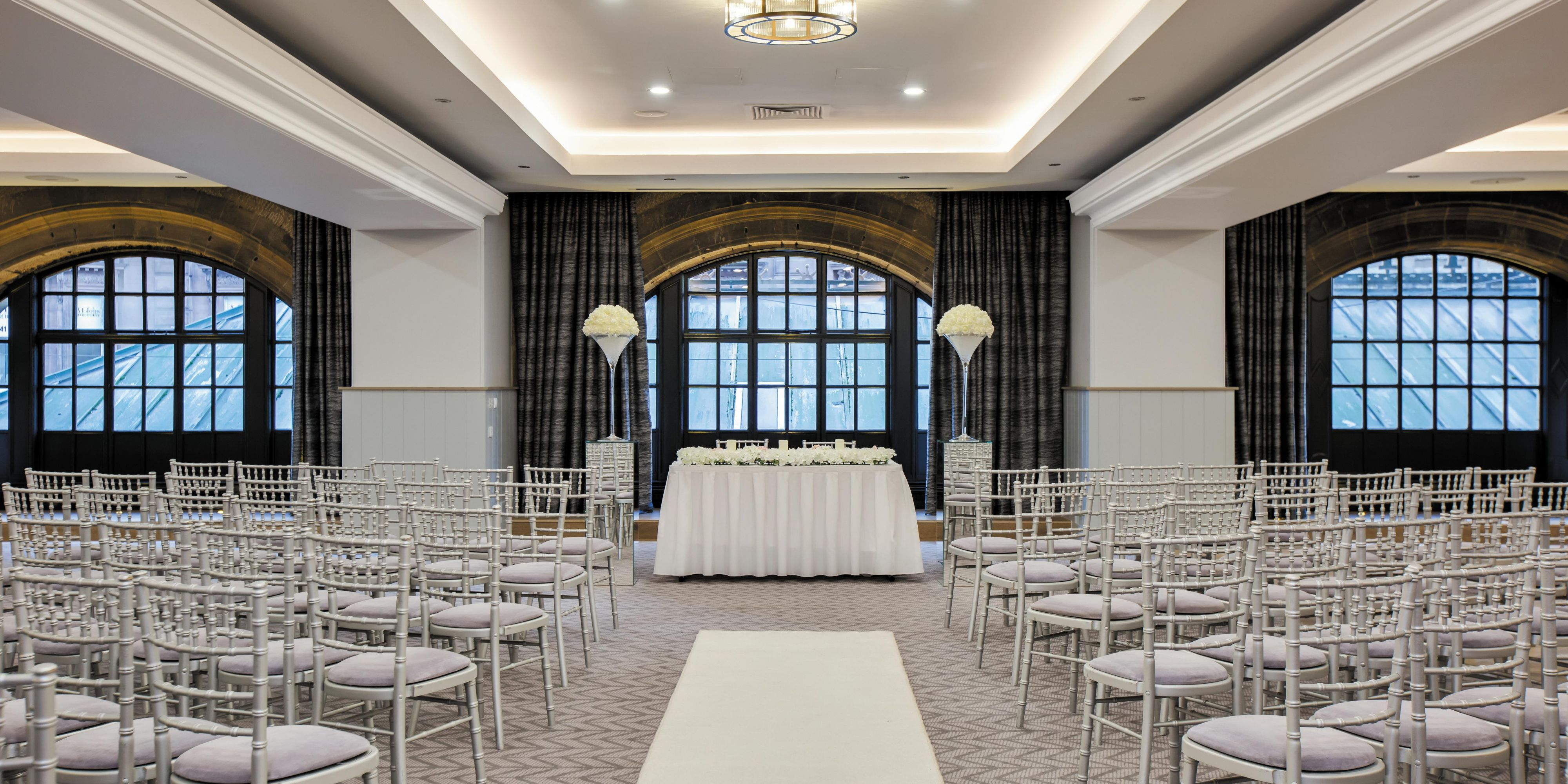 The beautiful Victoria suite set for a wedding ceremony
