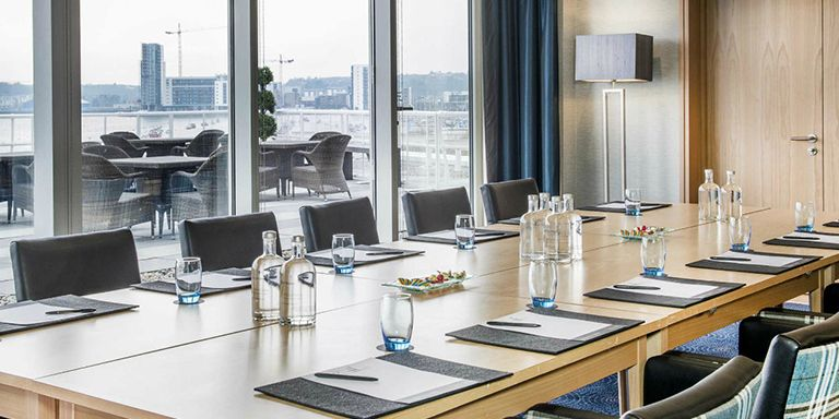 Meeting room with city view