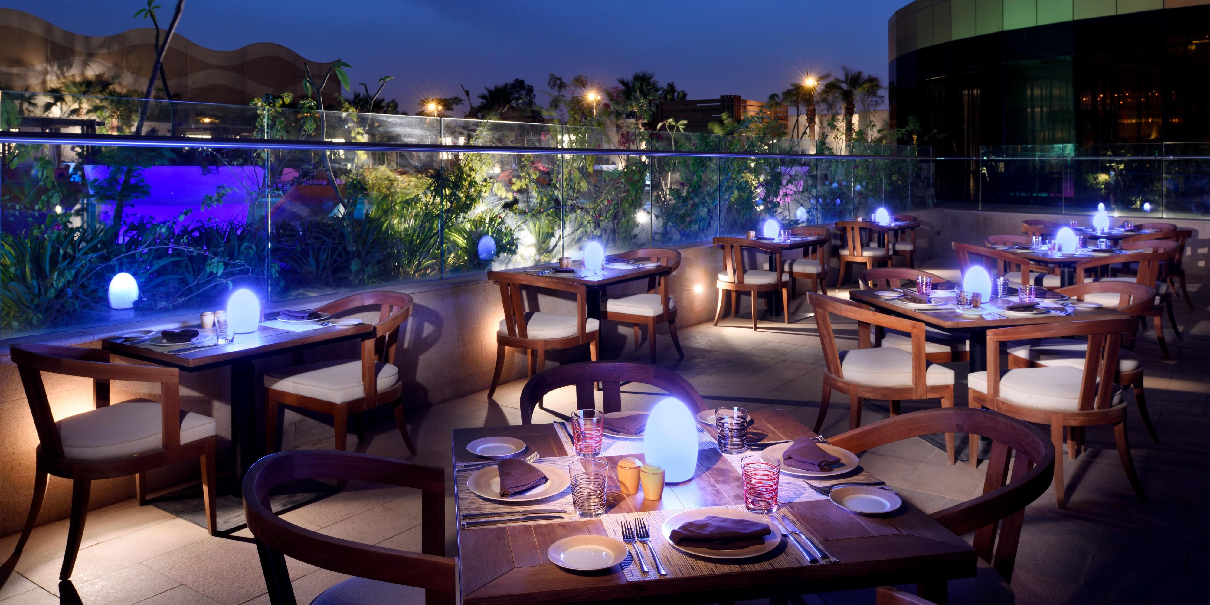 Naya Restaurant Outdoor Seating around pool with hot,cold starters