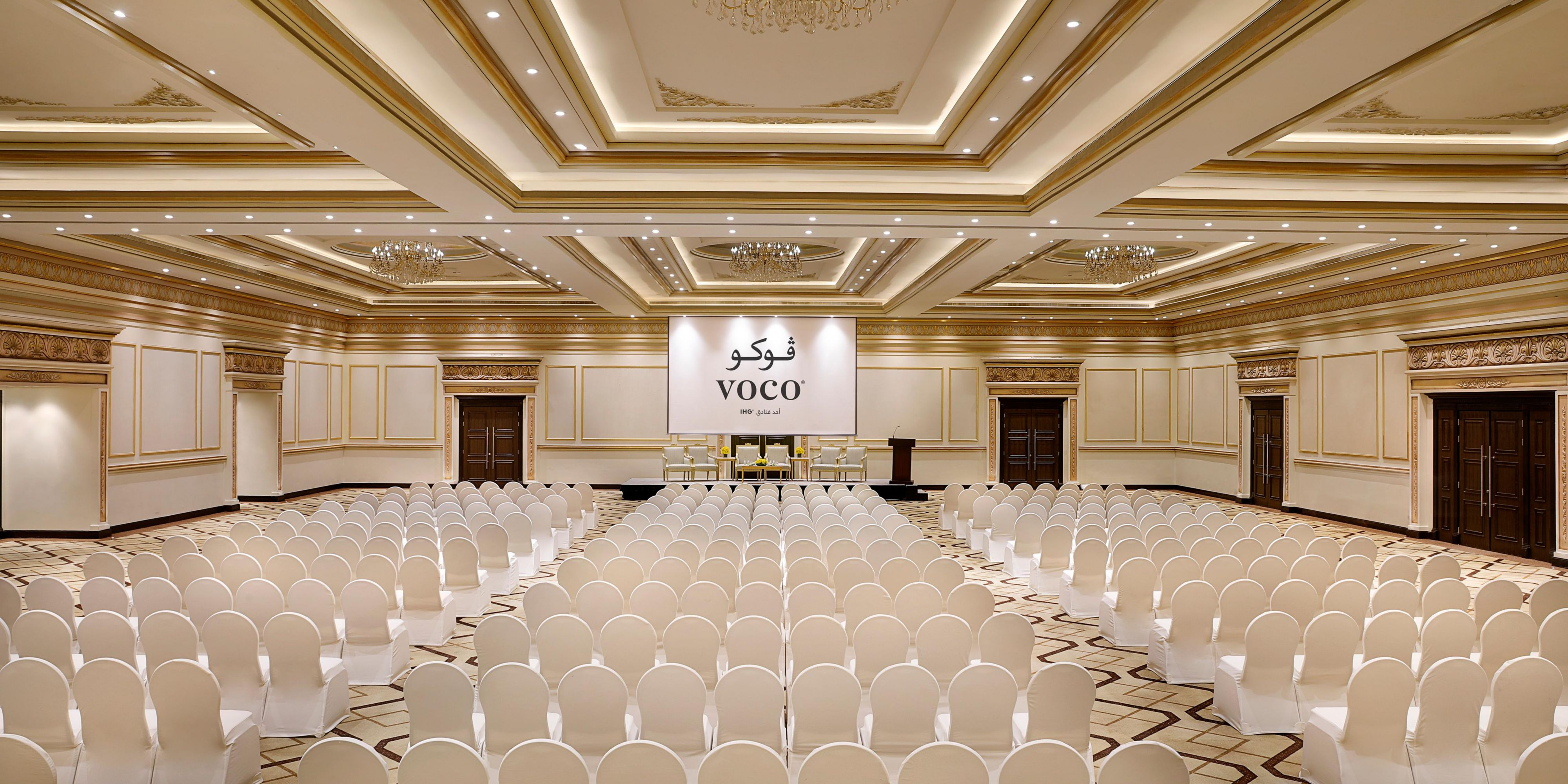 Riyadh Ballroom Fits 1200 guests. Perfect for weddings and events
