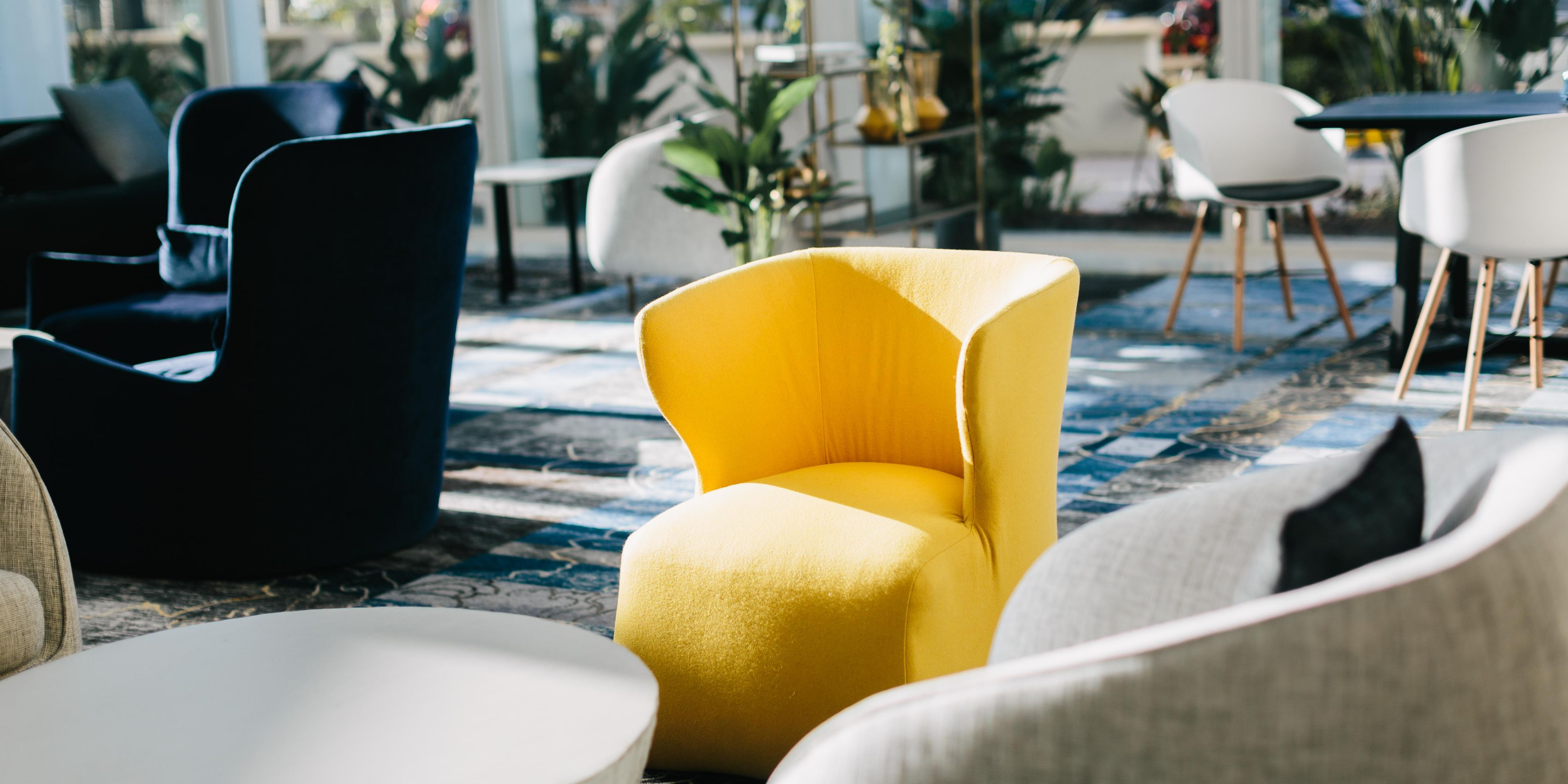Unstuffy, comfortable places to relax in our lobby lounge