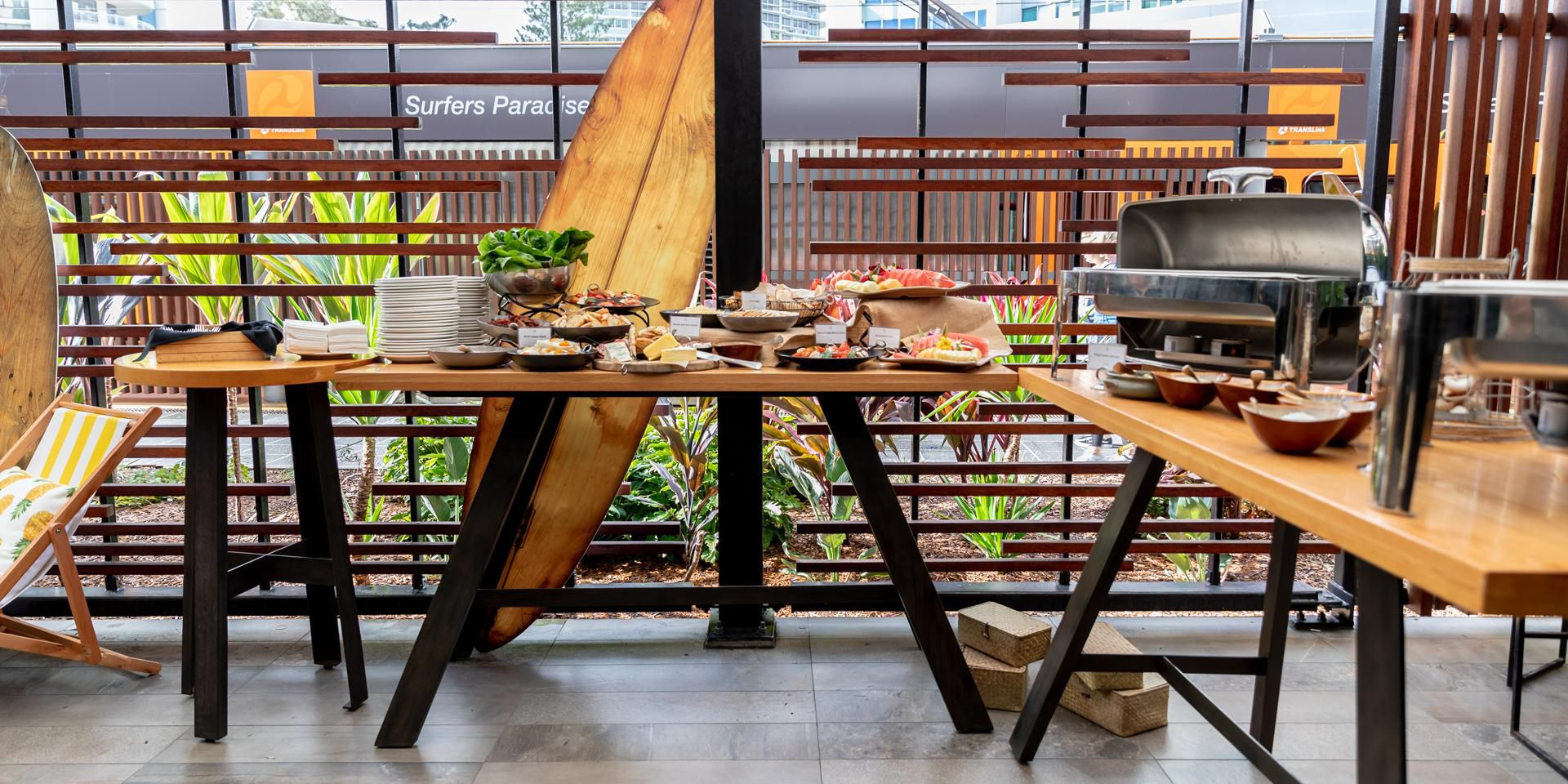Themed buffet lunch set up in Social House cabana